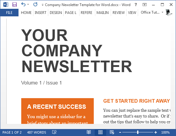 sample company newsletter template for word