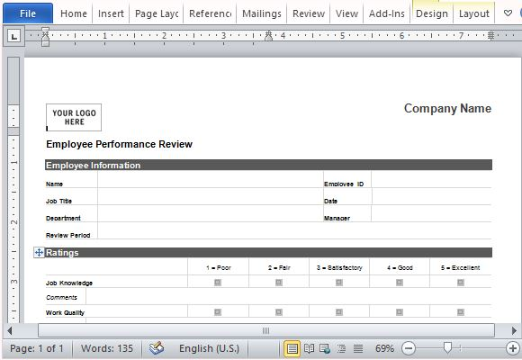 Employee Performance Review Form for Word – Performance Review Format