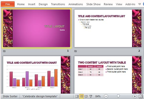 Showoff Your Winning Figures with Celebration PowerPoint Templates