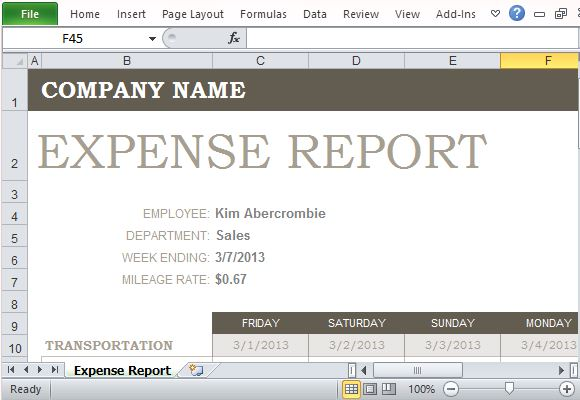Free Expense Report Template for Excel – Free Expense Reports