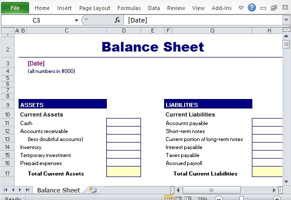 Simple Balance Sheet Maker Template for Excel – Microsoft Excel Balance Sheet Template