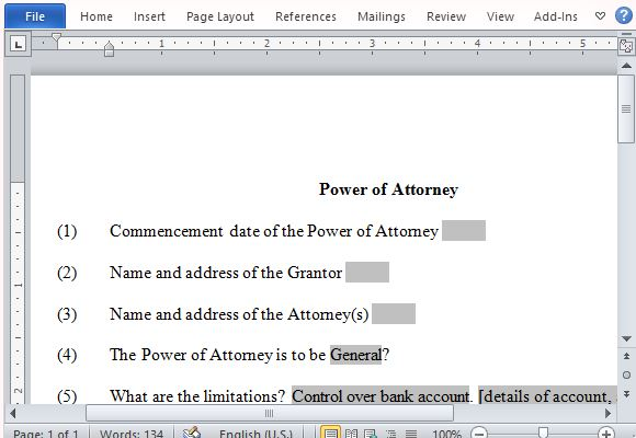 Power Of Attorney Form For Word