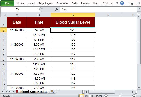 Simply Input the Necessary Data on the Blood Sugar Table