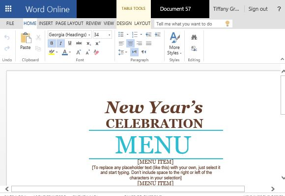 Event Menu Maker Template For Word