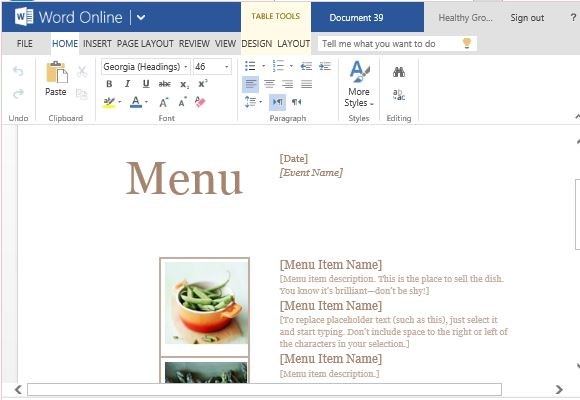 Standard Elegant and Professional Menu Template