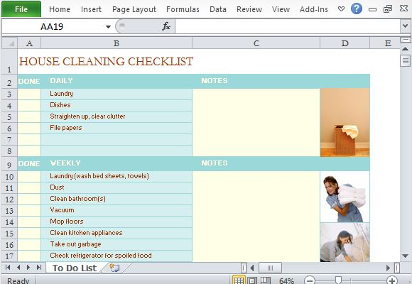 house cleaning checklist excel