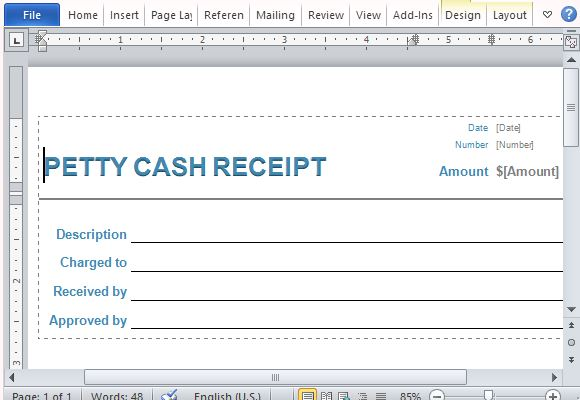 Standard Petty Cash Receipt Form For Business Use  Petty Cash Form Template