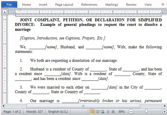Best Free Petition Templates for Word – Divorce Templates