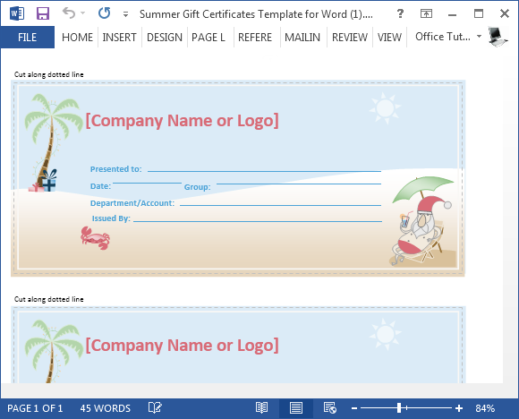 Printable Summer Gift Certificate Template for Microsoft Word – Word Gift Card Template
