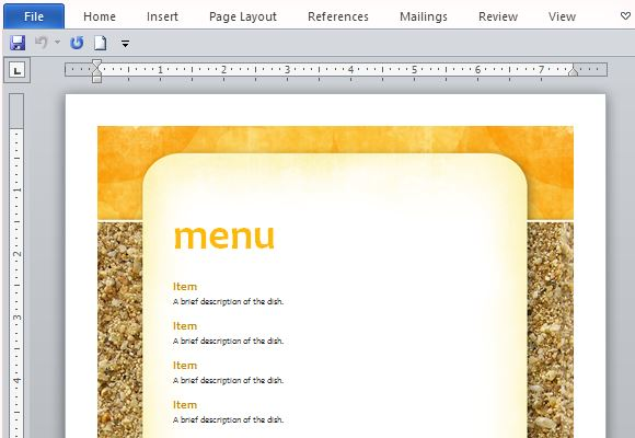 ms word menu templates