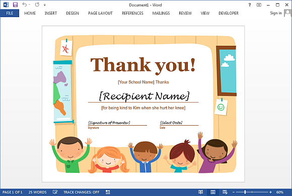 Thank You Certificate Template For Word