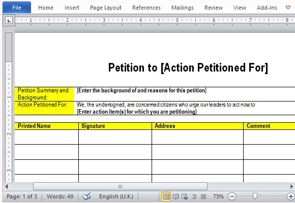 Best free petition templates for word for Template for petition signatures