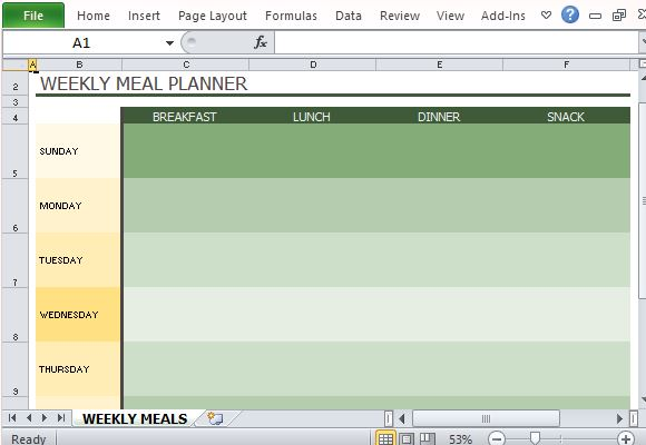 meal planner excel template