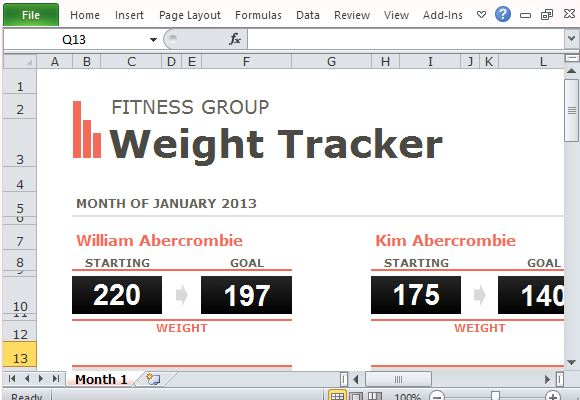 Group Weight Loss Tracker Template For Excel