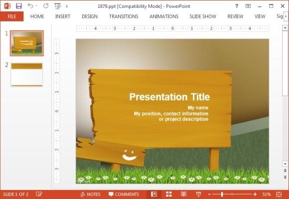 Wooden billboard PowerPoint template