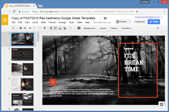 amazing red aesthetics template for google slides