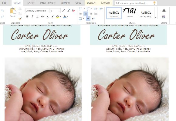 Ms word templates for making cards for child birth for Free online birth announcements templates