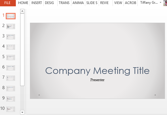 Company Meeting Powerpoint Template With Agenda Slides