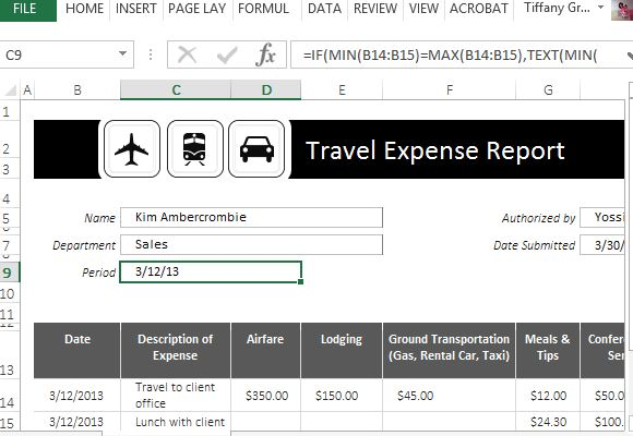 Traveling Expense Calculator for Excel – Travel Expense Calculator Template