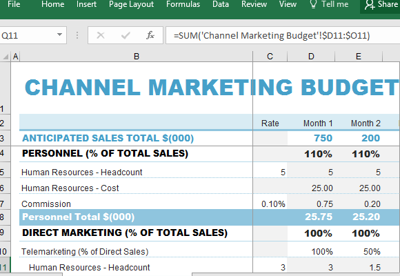 Channel Marketing Budget Maker Template For Excel