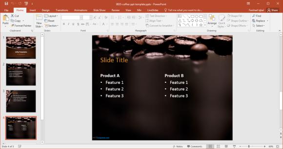 free coffee powerpoint template, Modern powerpoint