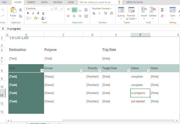 Group To Do List Template for Excel Online – Simple to Do List Template