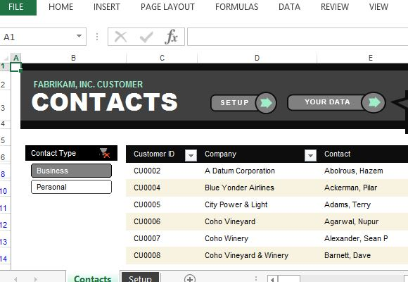 Customer Contact List Excel Template