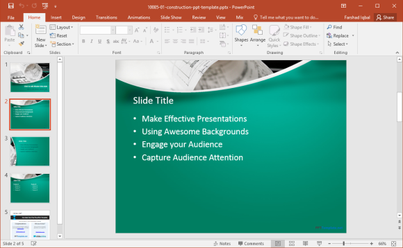 free construction plan powerpoint template
