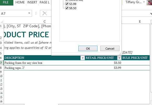 pricing list template excel