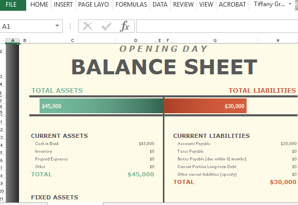 Printables Balance Sheet Worksheet opening day balance worksheet for excel