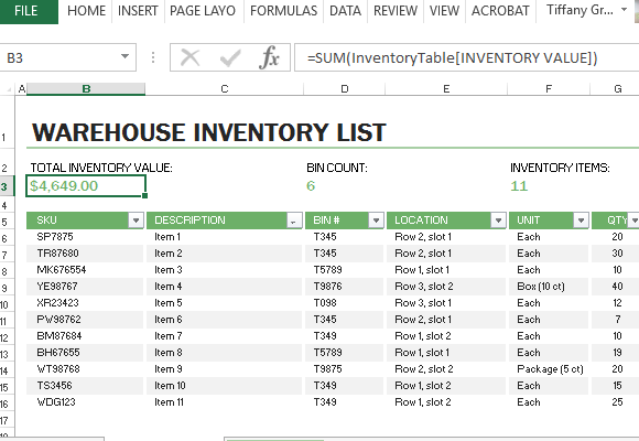 warehouse inventory excel sheet