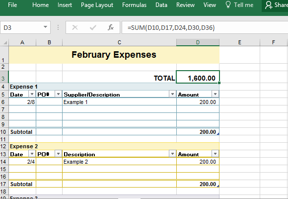 Sample Business Expense Sheet for Excel – Business Expense Worksheet