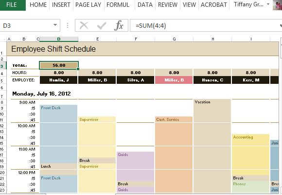 Easy Employee Schedule Template  VisualbrainsInfo