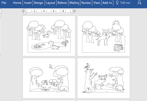 Go to Download Animals Educational Coloring Book for Microsoft Word