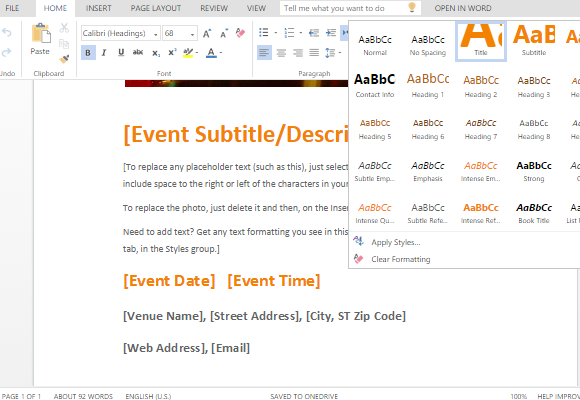 party event announcement template for word