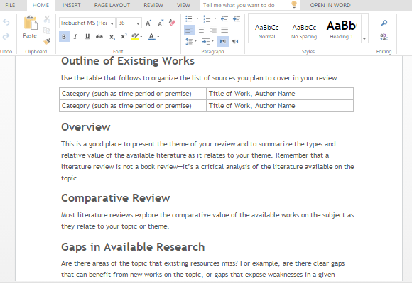 Free Literature Review Word Template – Literature Review Template