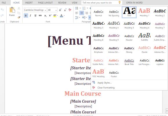 how to make a restaurant menu