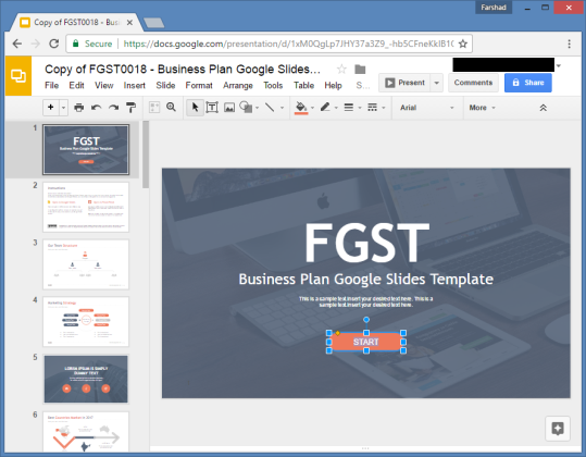 Free Business Plan Google Slides Template - Google business plan template