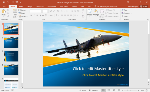 free war jet powerpoint template, Modern powerpoint