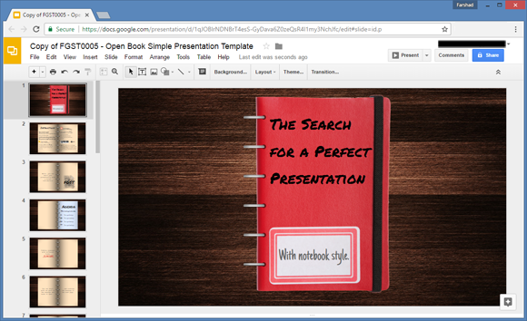 Open Book Google Slides Template - Slide templates for google