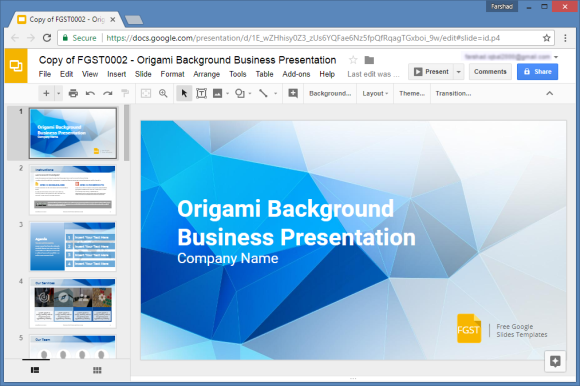 Free origami google slides template