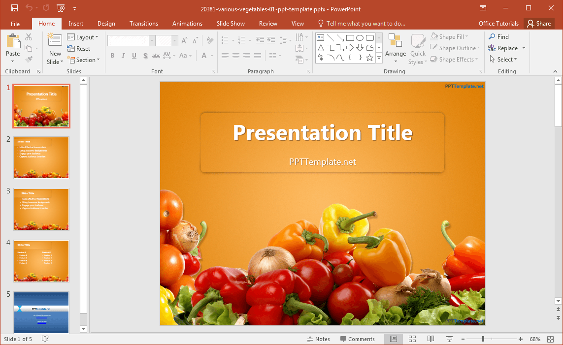 free various vegetables powerpoint template, Modern powerpoint