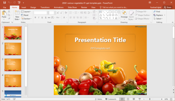 Free vegetables template for powerpoint