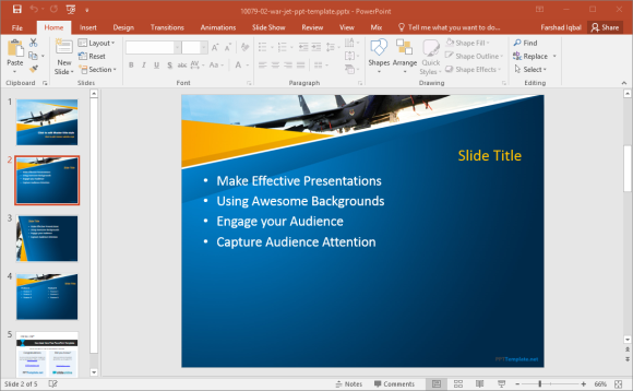 free war jet powerpoint template