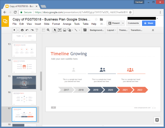 Free business plan google slides template for Timeline in google slides