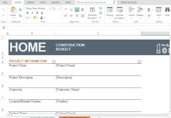 House construction budget maker template for excel for Home construction budget template