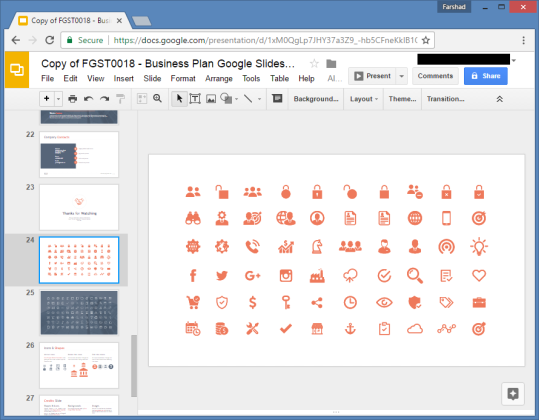 icon set for google slides