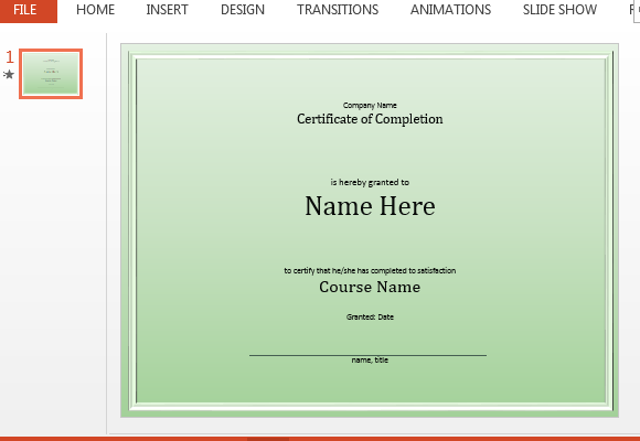 Free course completion certificate powerpoint template toneelgroepblik Images