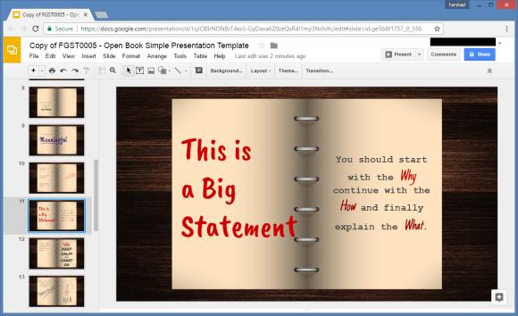 open book google slides template