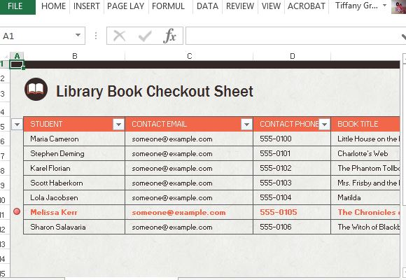 library checkout spreadsheet for excel